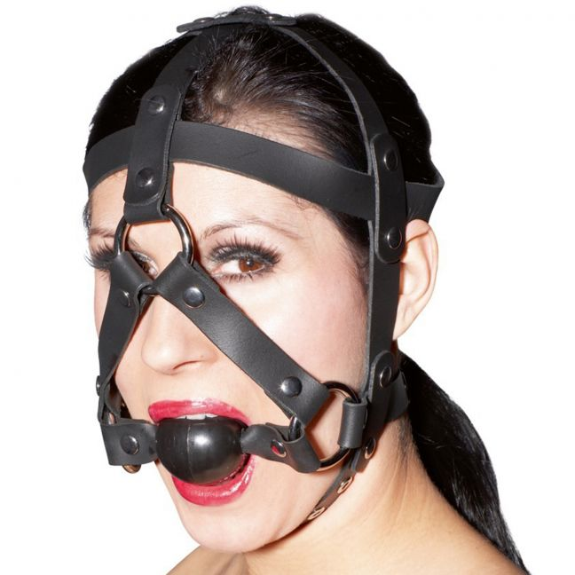 Zado Leather Head Harness with Gag