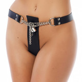 The Rimba Leather Chastity Belt for Women with a Chain and Lock