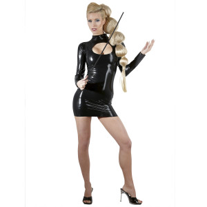 Late X Latex Mini Dress with Sleeves