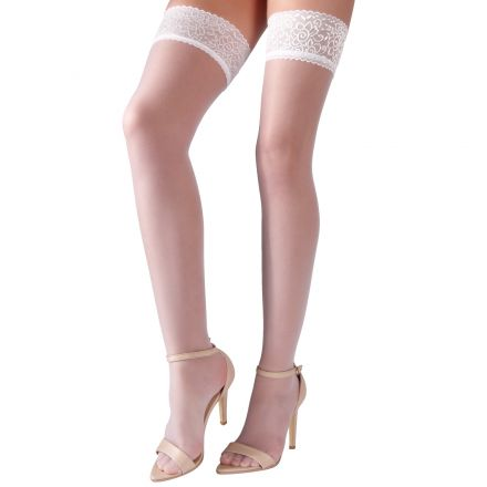 Cottelli Hold-Up Stockings with Lace Trim White