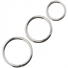 Spartacus Metal Cock Ring Pack of 3  product on a dildo 1