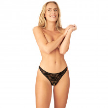 Nortie Siv Crotchless Lace G-String  1