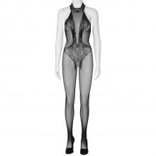 Sheer Fantasy Back To Black Lace Bodystocking With Ornate Tattoo