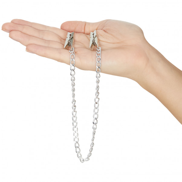 Fetish Fantasy Nipple Clamps with Chain product held in hand 50