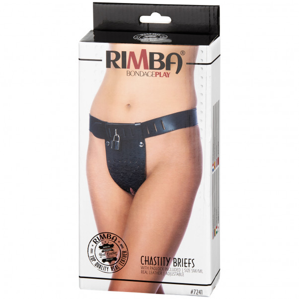 Rimba Leather Chastity Belt for Women Open Front M/L product packaging image 90